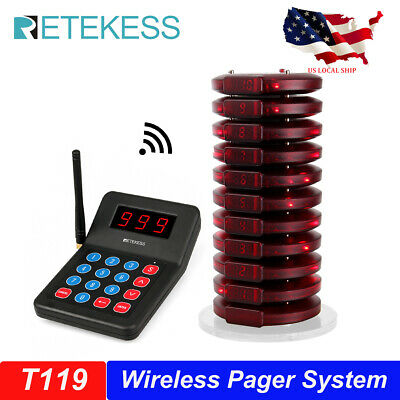 Restaurant Wireless Queue System Keypad Transmitter10coaster Pager For School