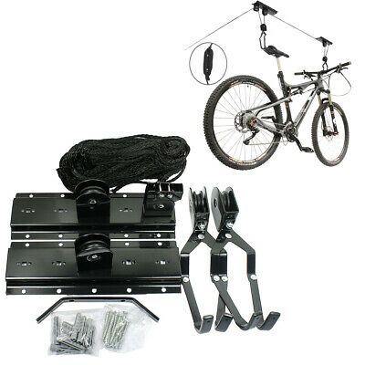 Bike Bicycle Hanger Pulley Rack Hoist Storage Garage Lift Ceiling Mounted Mount Ceiling Bike Rack