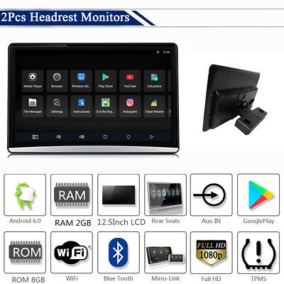 "2Pcs 12.5"" Touch Screen Android Car Headrest Monitors Mirror Link TPMS Bluetooth"
