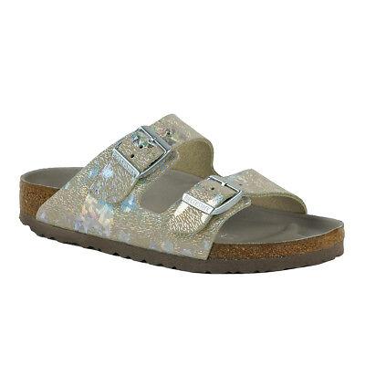 (Birkenstock Arizona Leather Sandals Metallic Silver 38)