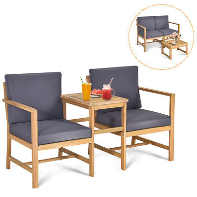 Garden Furniture - 3 in 1 Patio Table Chairs Set Solid Wood Thick cushion Garden Furniture