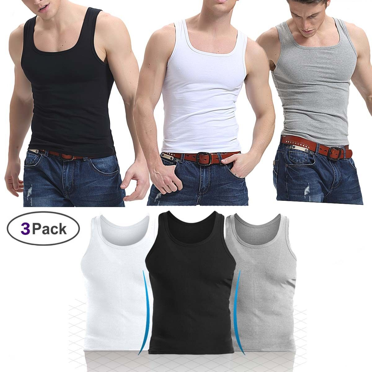 3 Packs For Mens 100/% Cotton Tank Top A-Shirt Wife Beater Undershirt Ribbed