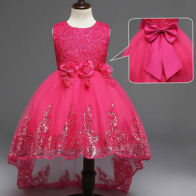 Kids Flower Girl Bow Princess Dress for Girls Party Wedding Bridesmaid Gown O89](Gowns For Kids)