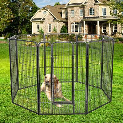 Pet Fence Dog Playpen Exercise Cage Kennel w/Door 8 Panel Indoor Outdoor 47