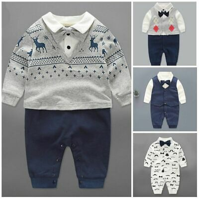 Baby boy clothes newborn infant formal suit wedding party Cotton Jumpsuit (Baby Boy Wedding Clothes)