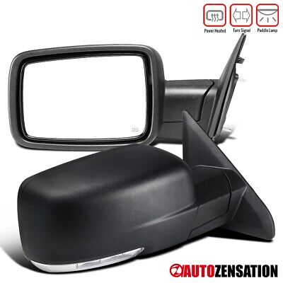 For 2009-2012 Dodge Ram 1500 Black Power Heated Pair Mirrors+LED Signal+Puddle