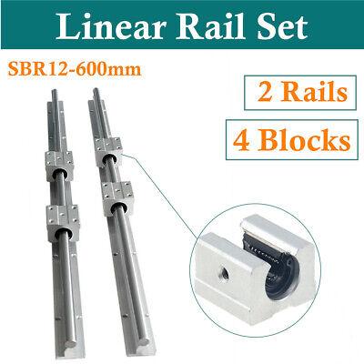 2pcs Sbr12-600mm Linear Rail Slide Guide Shaft Rod With 4x Sbr12uu Bearing Block