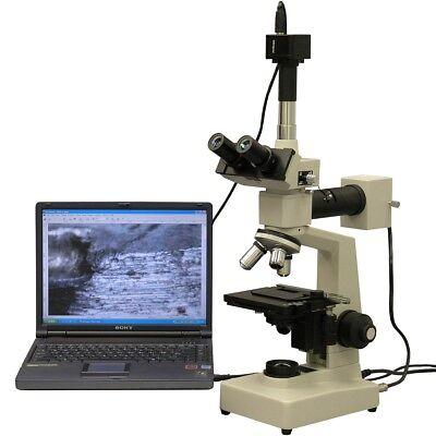 Amscope 40x-1000x Two Light Metallurgical Microscope 1.3mp Camera