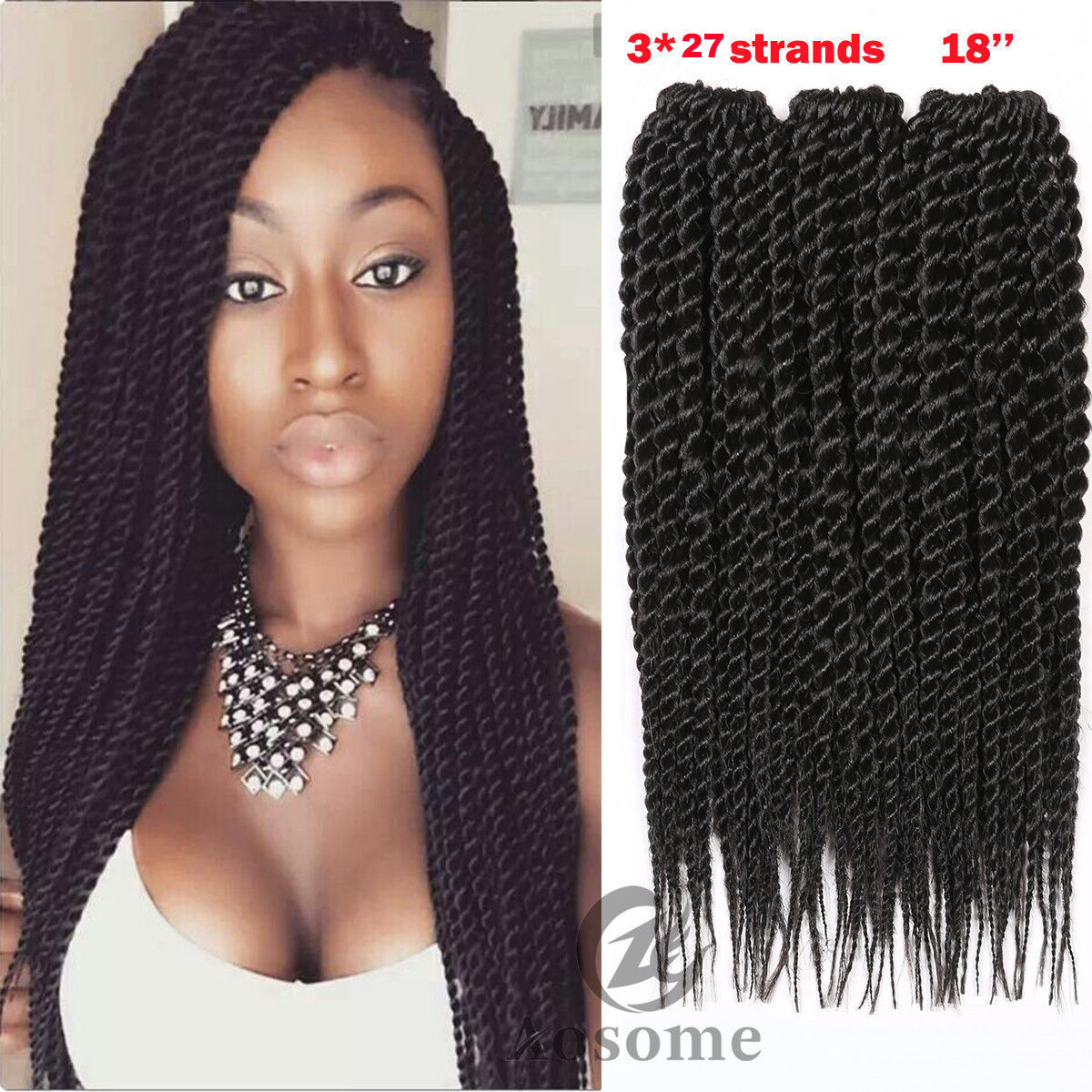 3 Bundles Havana Mambo Twist Crochet Braid Synthetic Senegalese Hair
