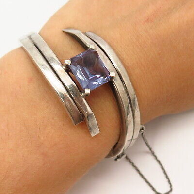 """925 Sterling Vintage Mexico Lab-Created Alexandrite Hinged Cuff Bracelet 6.5"""""""