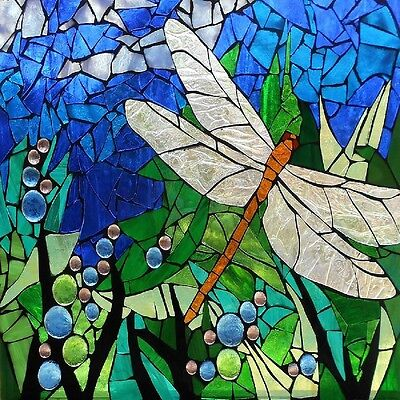 DRAGONFLY STAINED GLASS INSPIRED COASTERS  SET OF 4 FABRIC TOP / RUBBER BACKED (Dragonfly Coaster Set)