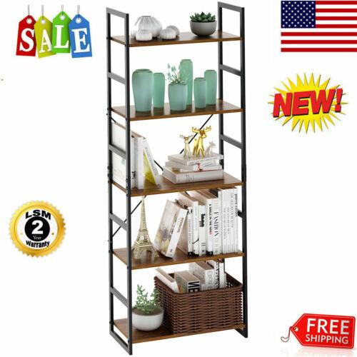 5-Tier Bookshelf Bookcase Storage Organizer Display Shelf Ho