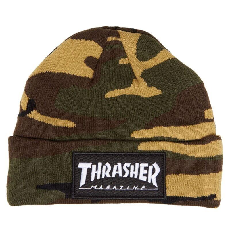 Thrasher Magazine MAG LOGO PATCH Skateboard Beanie CAMO