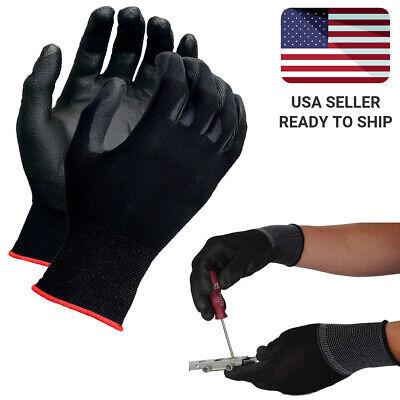 Safety Work Gloves Ultra-thin Polyurethane Coated Nylon Shell 10 Pairs