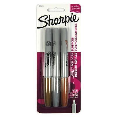 Sharpie Metallic Permanent Markers Fine Point Assorted Metallic 3 Count