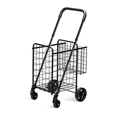 Portable Grocery Buggy Rolling Laundry Utility Cart Folding Adjustable Handle
