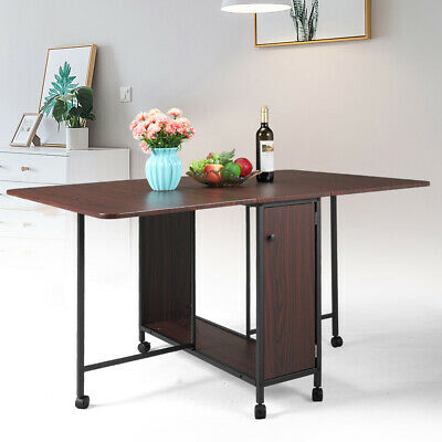 Brown Folding Table Rolling Wheel Dining Study Computer Writing Desk Home Office Living Room Office Folding Table