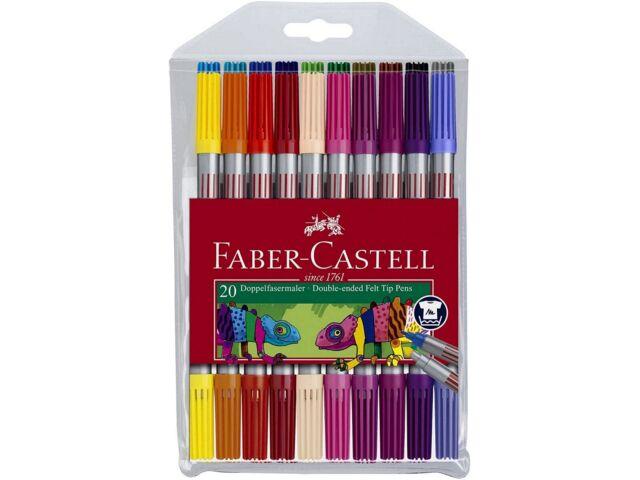 20x PROFI DOPPEL-FASERMALER Faber-Castell Filzstifte Farbstifte Uni Büro Schule