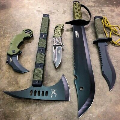5 PC Military Outdoor Camping Fixed Blade Tactical Machete Survival Knife Set