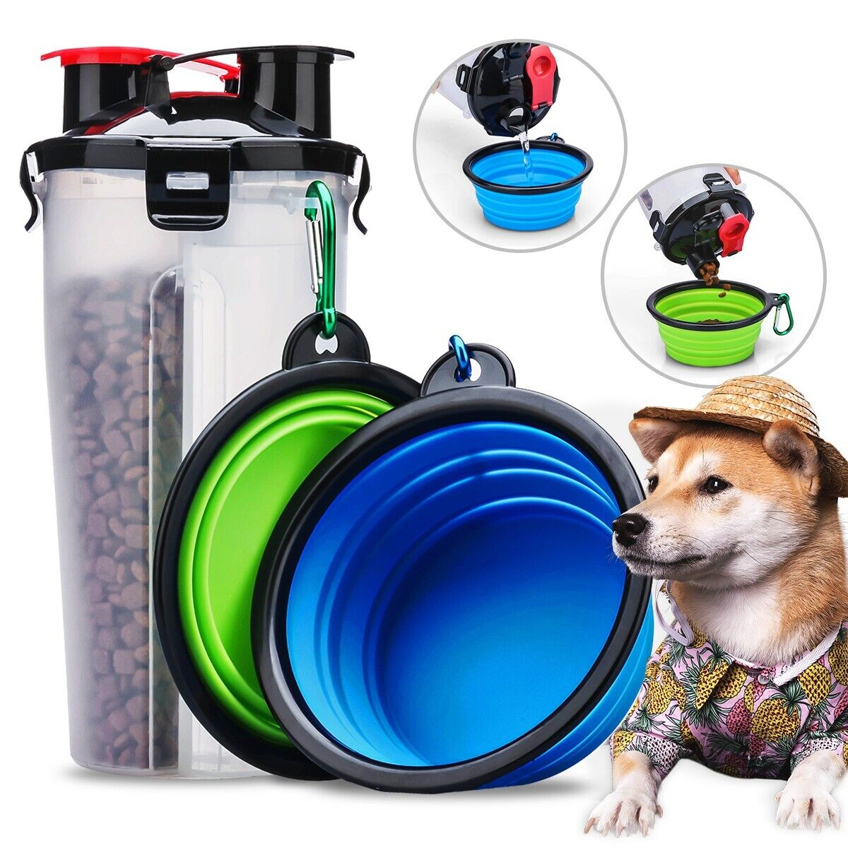 Dog Bowls with Dog Water Bottle Cup for Trip and Pet Food Storage Container