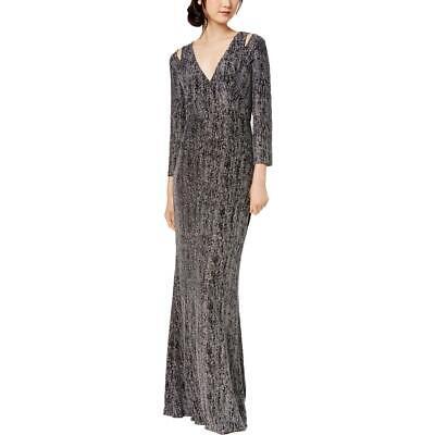 Calvin Klein Womens Silver Glitter Cut-Out Formal Evening Dress Gown 8 BHFO 1695