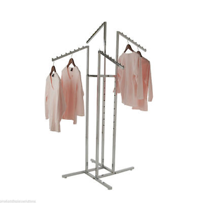 4 Way Garment Display Rack With 4 Slanted Arms Chrome