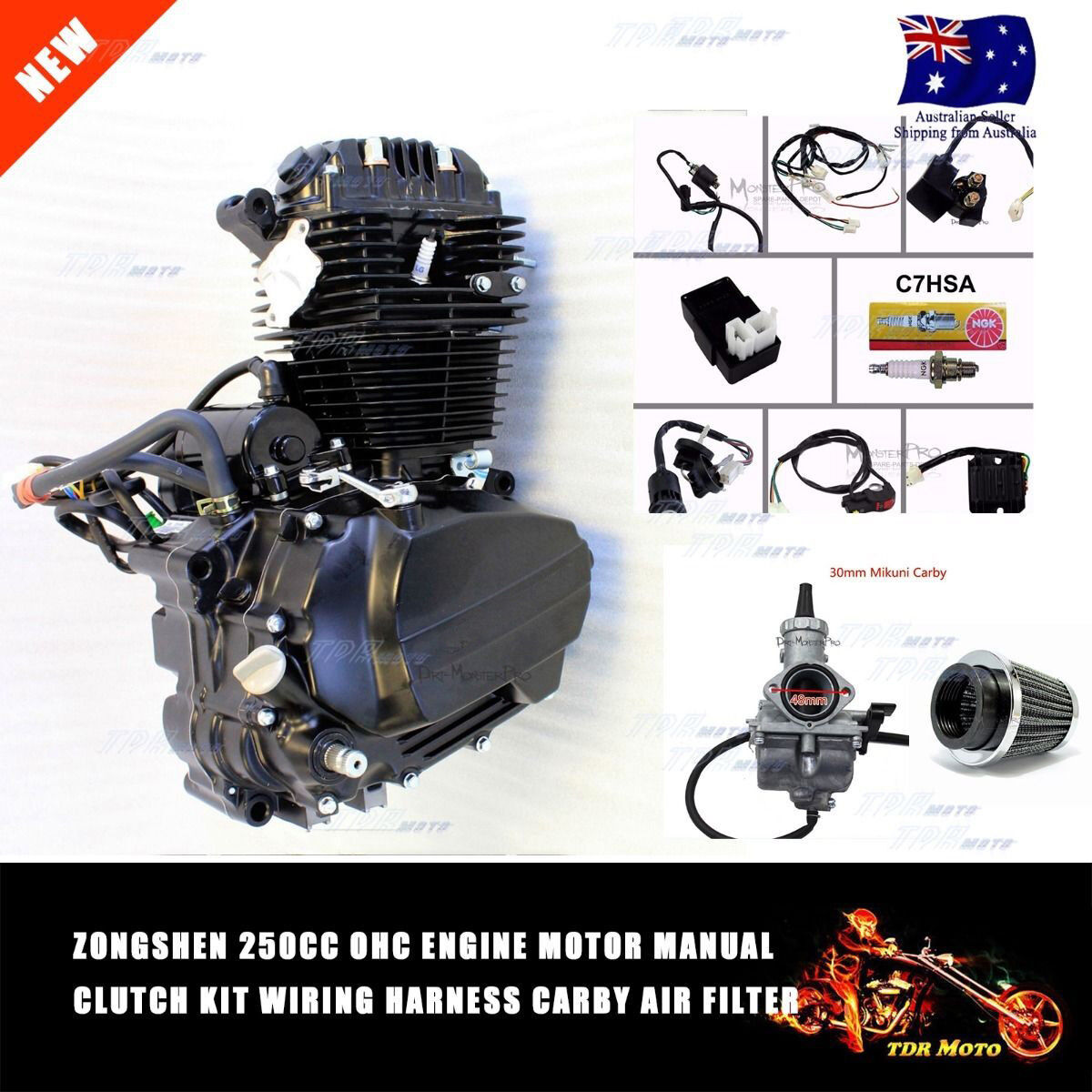 Pit Bike Wiring Harness 250cc Zongshen Ohc Air Cooled Engine Motor Loom Carby Dirt