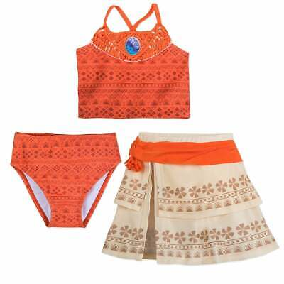 Disney Moana Deluxe Princess 3pc Swimsuit Costume Set Girls 2 3 4 5/6 7/8 9/10](Disney Swimwear Girls)