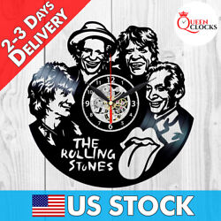 The Rolling Stones Vinyl Clock Vintage Record Art Wall Decor LP Lips Xmas Gifts