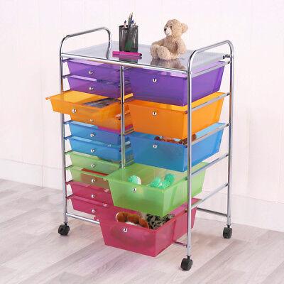 Rolling Storage Cart w/ 15 Drawers Metal Rack Shelf Home Office School Utility