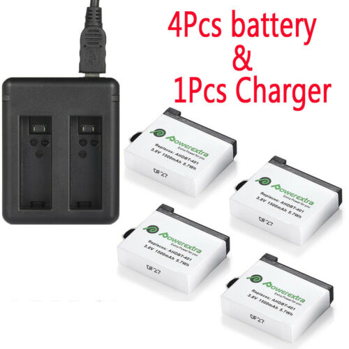 4PACK AHDBT-401 Battery  + Dual USB Charger For Gopro Hero 4 Black Silver Camera