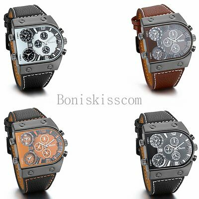 Men's Watches Military Black Steel Dial Big Sport Case Leather Band Wrist Watch Dial Leather Watch Band
