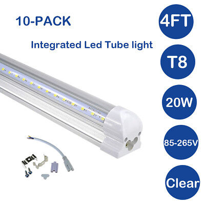 4FT 20W T8 LED Integrated Tube Light Fixture Bulbs 6500K Clear Lens 10-PACK for sale  USA
