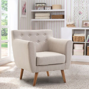 Arm Chair Tufted Back Fabric Upholstered Accent Chair Single Sofa Wood Leg  Beige