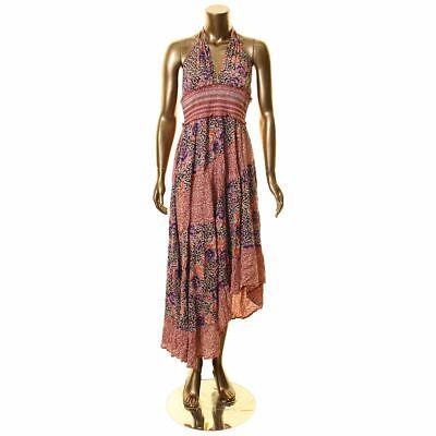 FREE PEOPLE Women's Brown Combo Gabriella Printed Halter Slip Maxi Dress M TEDO Halter Slip Dress