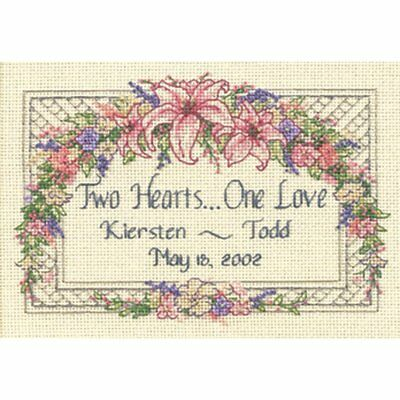 "One Love Wedding Record Mini Counted Cross Stitch Kit-7""X5"" 18 Count, NEW"