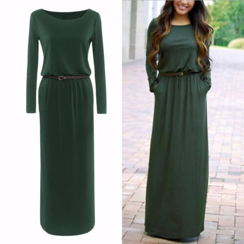 Fashion Women Casual Long Sleeve Belted Party Evening Cocktail Long Maxi Dress