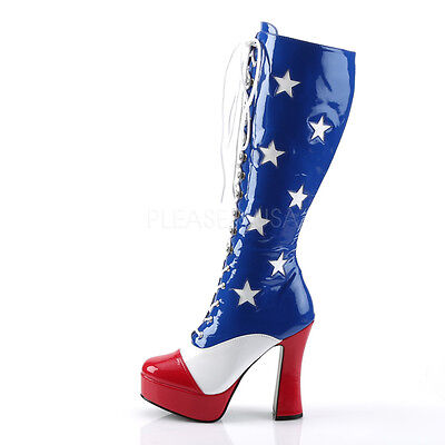 Red White Blue American Flag Stars & Stripes Knee High Costume Gogo Boots Shoes - Red Go Go Boots