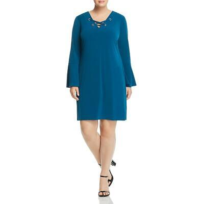 MICHAEL Michael Kors Women's Plus Size Lace Up Bell Sleeve Shift Dress