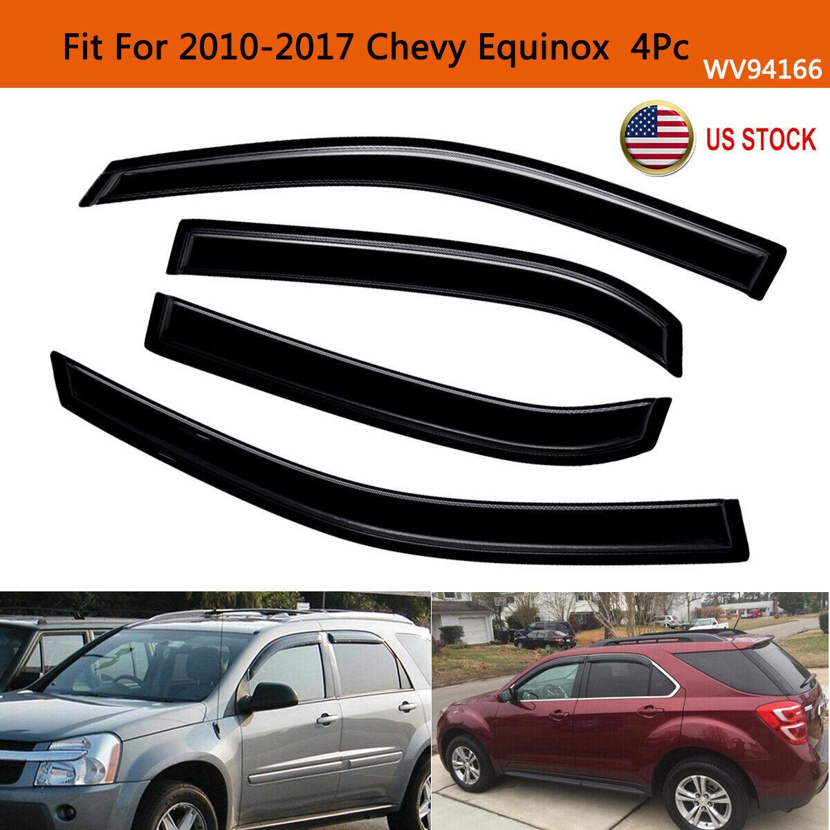 Tape-On Rain Guard Window Visor Dark Grey 4pcs For 2010-2017 Chevrolet Equinox