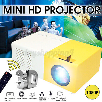 YG300 Mini Portable Multimedia LCD Projector Full HD 1080P Home Theater USB  e