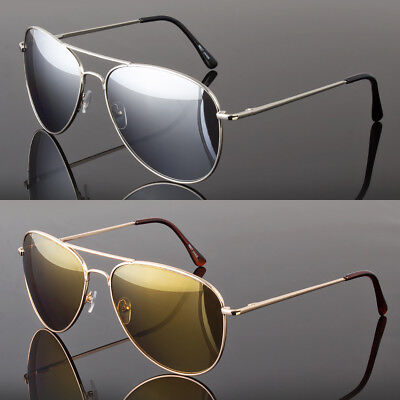 Large Aviator Sunglasses Silver Mirror Lens Men's Women's Vintage Frame (Aviator Sunglasses Silver Frame)