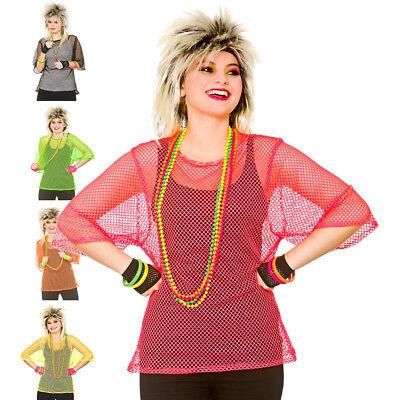 80's Mesh Top Fishnet Net Neon 1980s Womens Fancy Dress Costume Accessory - Top Fancy Dress Costumes