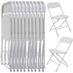 10 Pack Commercial Wedding Quality Stackable Plastic Folding Chairs White