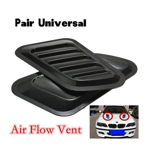 2 Pcs Car Decorative Air Flow Intake Scoop Turbo Bonnet Vent Cover Hood Black