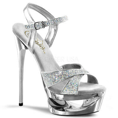 Silver Glitter Platform Shoes Pageant Prom Classy Criss Cross Strap Heels 7 8 9
