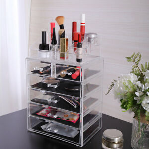 Makeup Cosmetics Jewelry Organizer Acrylic Display Box Storage w/ Drawers