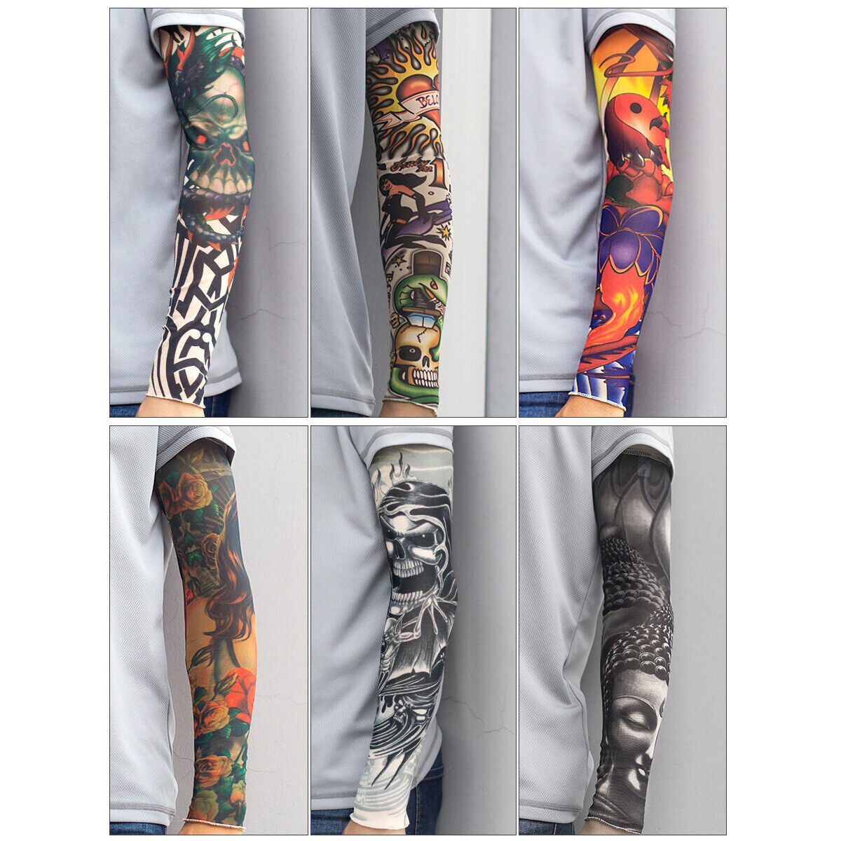 6pcs Skull Tattoo Arm Sleeves Cover Basketball Outdoor Sport UV Sun Protection Basketball