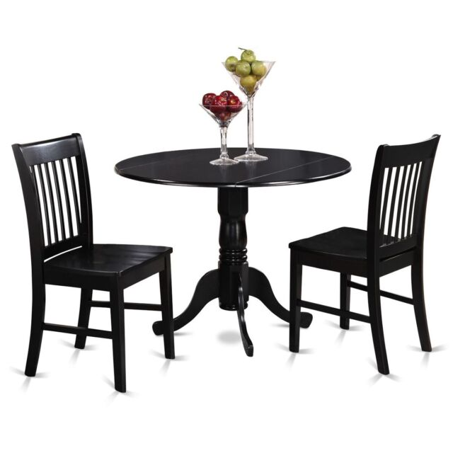 pc Set Round Dinette Kitchen Dining Table With  Wood Seat Chairs