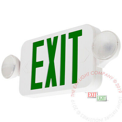 Led Green Exit Sign Emergency Light - Compact Combo Ul Combogjr